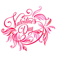 Title Valentine's Day. Watercolor. Vector illustration
