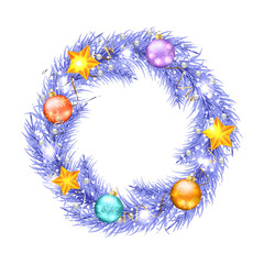 Purple christmas tree wreath with Christmas decorations.
