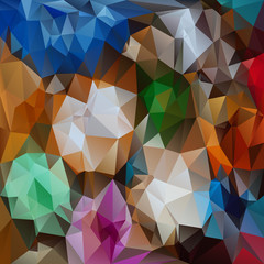 vector polygonal background design in full colors - flowers