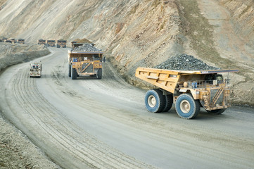 Large dumptruck in copper mine
