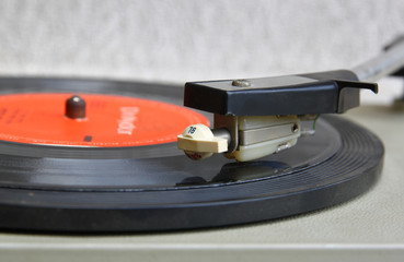 Close up image of old record player. selective focus.
