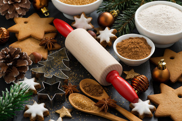ingredients for Christmas baking and cookies