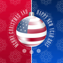 Christmas vector background in american style with bauble