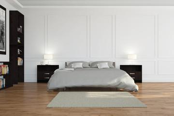 Bett im Schlafzimmer mit Stuck