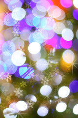 Defocused abstract christmas tree light bokeh background with fa