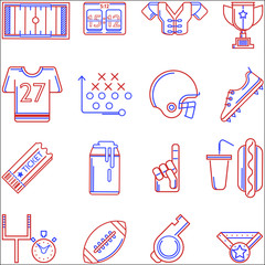 Contour two colored vector icons for American football