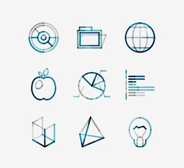 Minimal thin line design web icon set