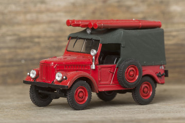 Scale metal model of a retro fire engine
