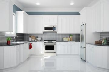 Interior einer neuen weißen Küche