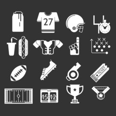 White icons monochrome collection for American football
