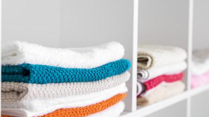 Towels in the linen closet