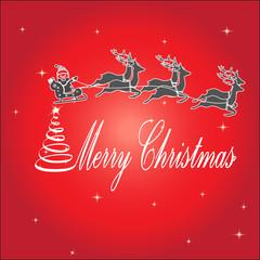 Santa Claus rides in a sleigh reindeer