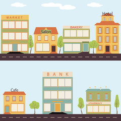 Set of buildings in the style small business flat design