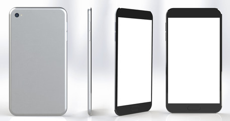 Smartphone with blank screen in several positions and angles.