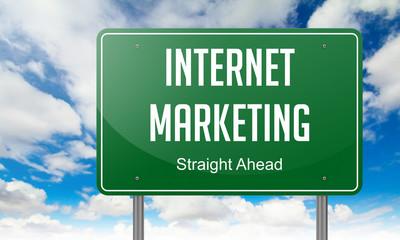 Internet Marketing on Highway Signpost.