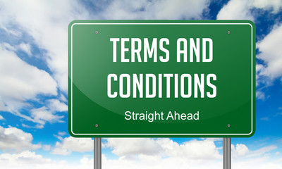 Terms and Conditions on Highway Signpost.