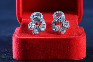 White gold earrings on the box.