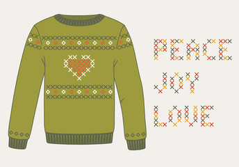 Knitted Christmas sweater, winter card