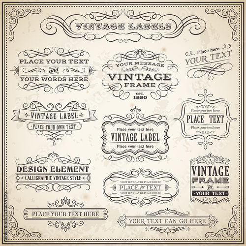 Vintage Calligraphic Labels Set poster