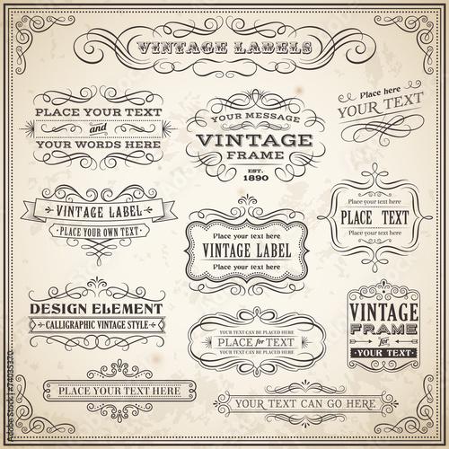 Zdjęcia na płótnie, fototapety, obrazy : Vintage Calligraphic Labels Set