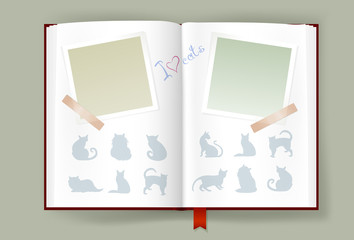Opened Album With Blank Photo Frames And Cats Silhouettes