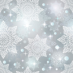 Abstract seamless Christmas snowflake pattern.