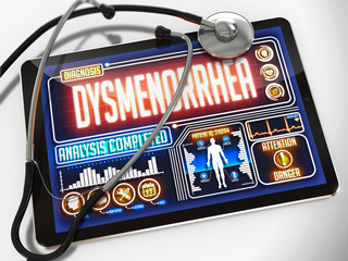 Dysmenorrhea Diagnosis on the Display of Medical Tablet.