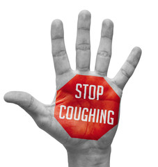Stop Coughing Sign Painted, Open Hand Raised.