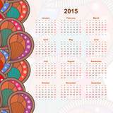 Calendar with flower design doodle. 2015. Ethno. Vector illustra