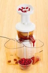 slow juicer makes cranberry juice