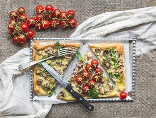 Rustic mushroom (fungi) square pizza with cherry tomatoes and ar