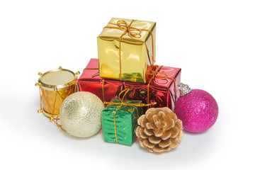 A pile of Christmas Decoration and Gift Box