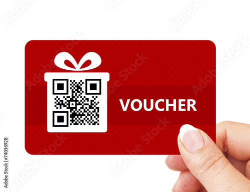 hand holding christmas voucher isolated over white - 74036928