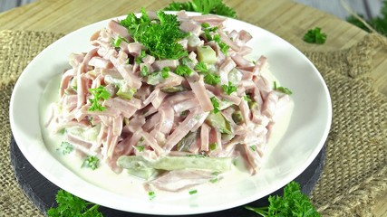 Homemade Meat Salad as not loopable 4K UHD close-up footage