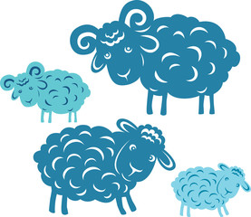 Vector pair. Silhouette of a ram and sheep