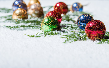 Group of multi-colored Christmas ornaments