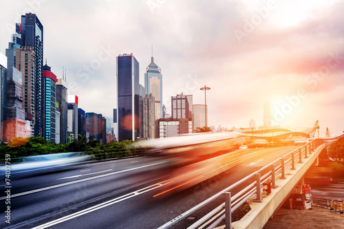 canvas print picture cityscape and traffic trails on the road of modern city