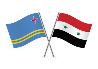 Syrian and Aruba flags. Vector illustration.