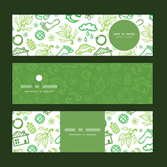 Vector ecology symbols horizontal banners set pattern background