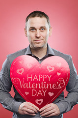 Man with a Valentine's Day heart