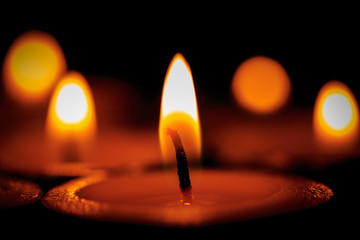 Hot light of candles