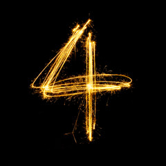 Sparkler firework light alphabet number 4.