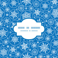 Vector falling snowflakes frame seamless pattern background