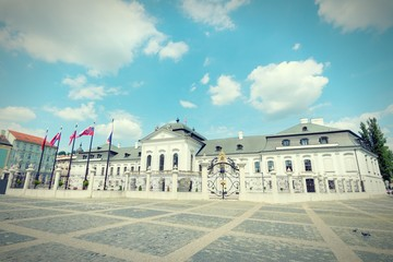 Presidential Palace in Bratislava. Cross processing colors.