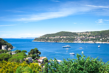 Panoramic view of the bay Villefranche-sur-Mer in France