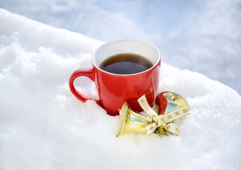 Tea Cup In Snow in Morning Winter Mood and Christmas Decor