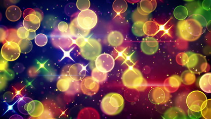 colorful circle bokeh and stars festive loopable background