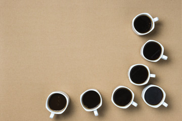 Coffee cups ready to drink