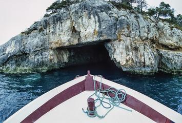 Italy, Molise, Tremiti Islands, a cave in the rocky coast