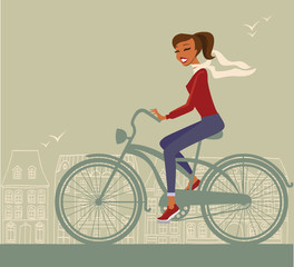 Girl cycling in the city